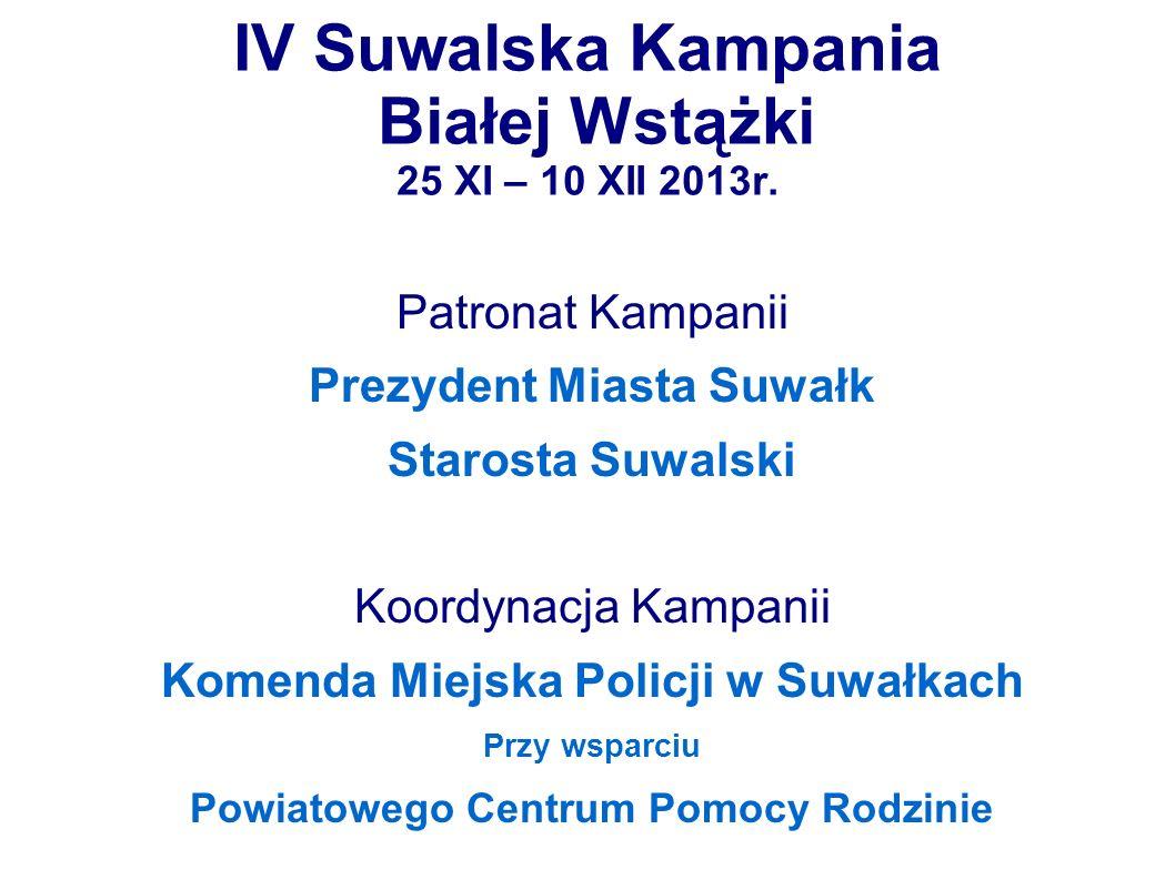 IV Suwalska Kampania Białej Wstążki 25 XI – 10 XII 2013r. Patronat Kampanii Prezydent Miasta Suwałk Starosta Suwalski Koordynacja Kampanii Komenda Mie