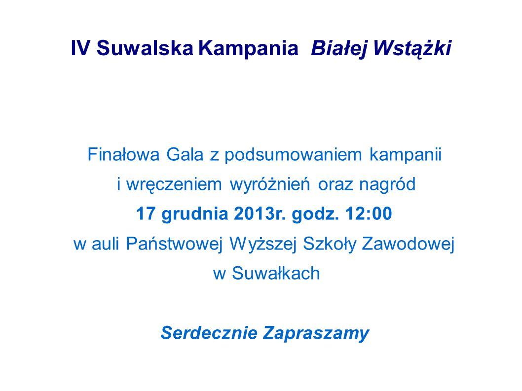 IV Suwalska Kampania Białej Wstążki Finałowa Gala z podsumowaniem kampanii i wręczeniem wyróżnień oraz nagród 17 grudnia 2013r. godz. 12:00 w auli Pań