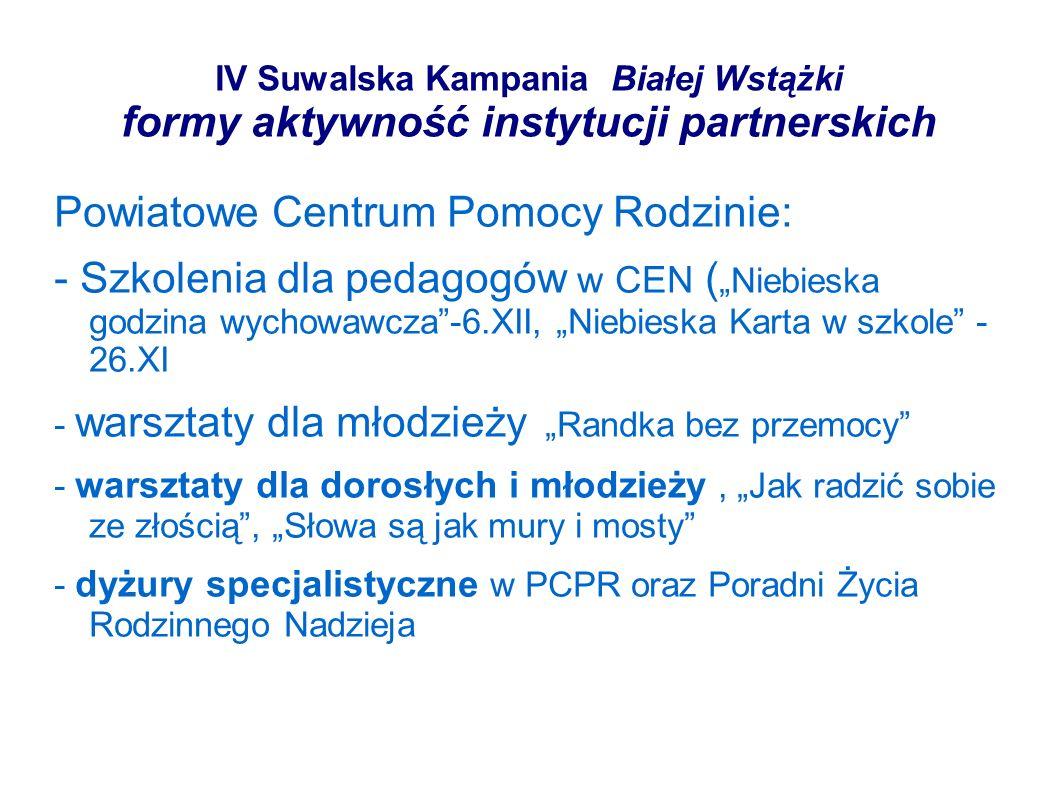 IV Suwalska Kampania Białej Wstążki formy aktywność instytucji partnerskich Powiatowe Centrum Pomocy Rodzinie: - Szkolenia dla pedagogów w CEN ( Niebi