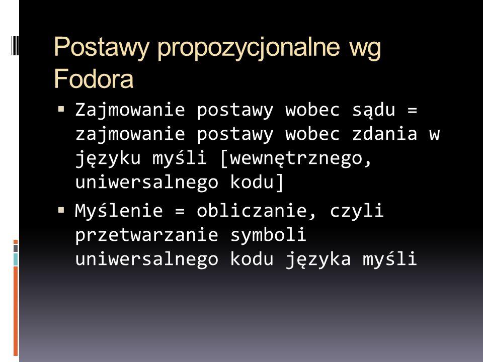 Postawy propozycjonalne wg Fodora Zajmowanie postawy wobec sądu = zajmowanie postawy wobec zdania w języku myśli [wewnętrznego, uniwersalnego kodu] My