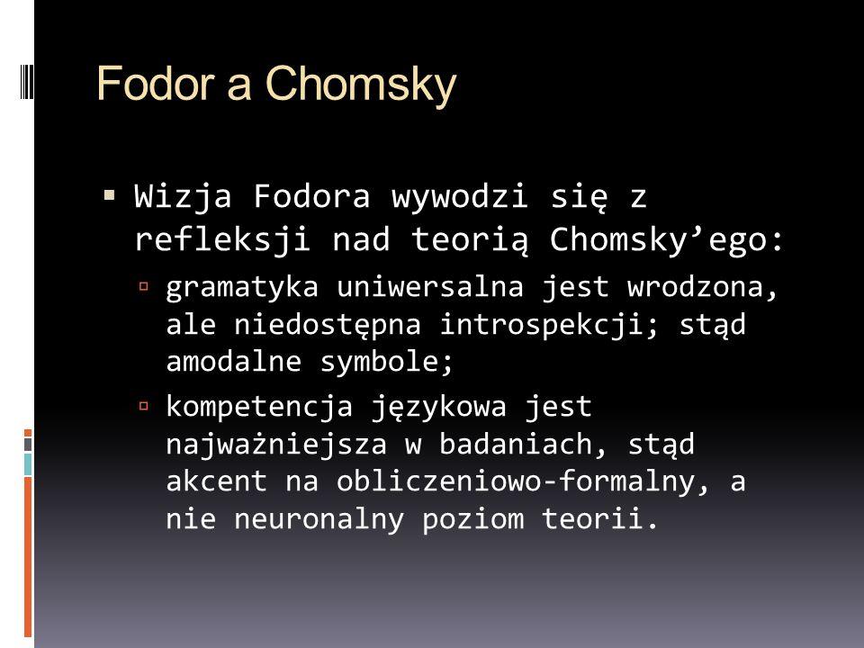 Fodor a Chomsky Wizja Fodora wywodzi się z refleksji nad teorią Chomskyego: gramatyka uniwersalna jest wrodzona, ale niedostępna introspekcji; stąd am