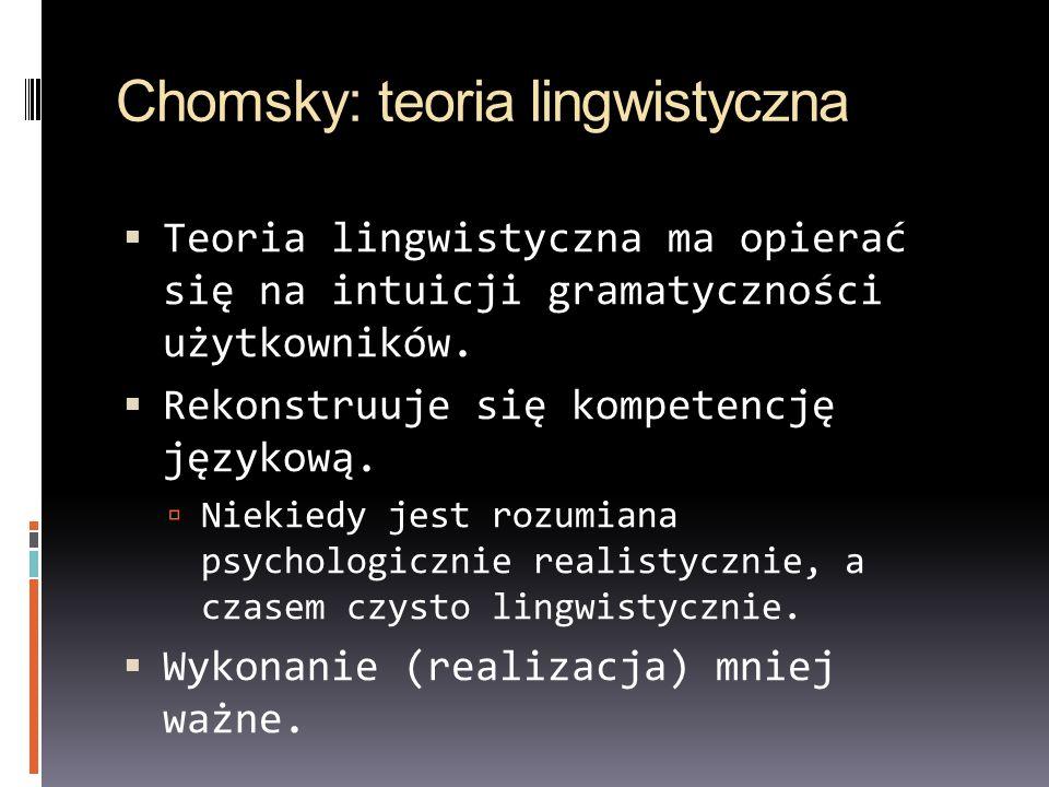Chomsky: teoria lingwistyczna Teoria lingwistyczna ma opierać się na intuicji gramatyczności użytkowników. Rekonstruuje się kompetencję językową. Niek