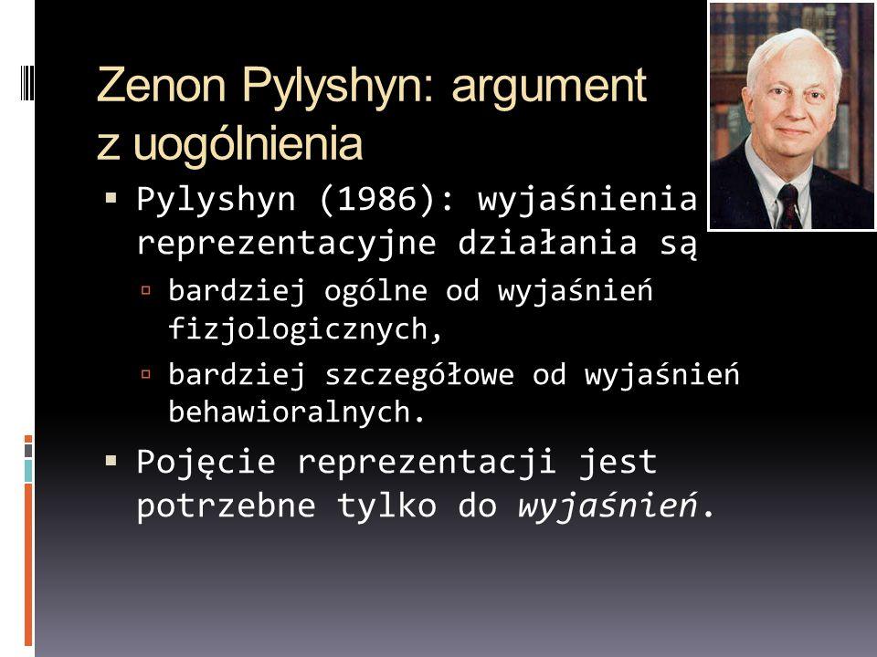 Zenon Pylyshyn: argument z uogólnienia Pylyshyn (1986): wyjaśnienia reprezentacyjne działania są bardziej ogólne od wyjaśnień fizjologicznych, bardzie