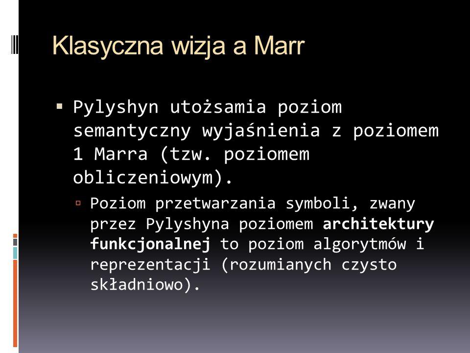 Klasyczna wizja a Marr Pylyshyn utożsamia poziom semantyczny wyjaśnienia z poziomem 1 Marra (tzw. poziomem obliczeniowym). Poziom przetwarzania symbol