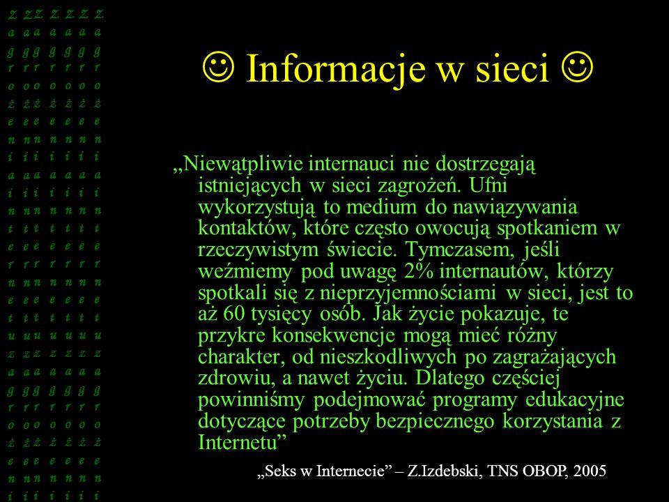 Informacje w sieci Niewątpliwie internauci nie dostrzegają istniejących w sieci zagrożeń. Ufni wykorzystują to medium do nawiązywania kontaktów, które