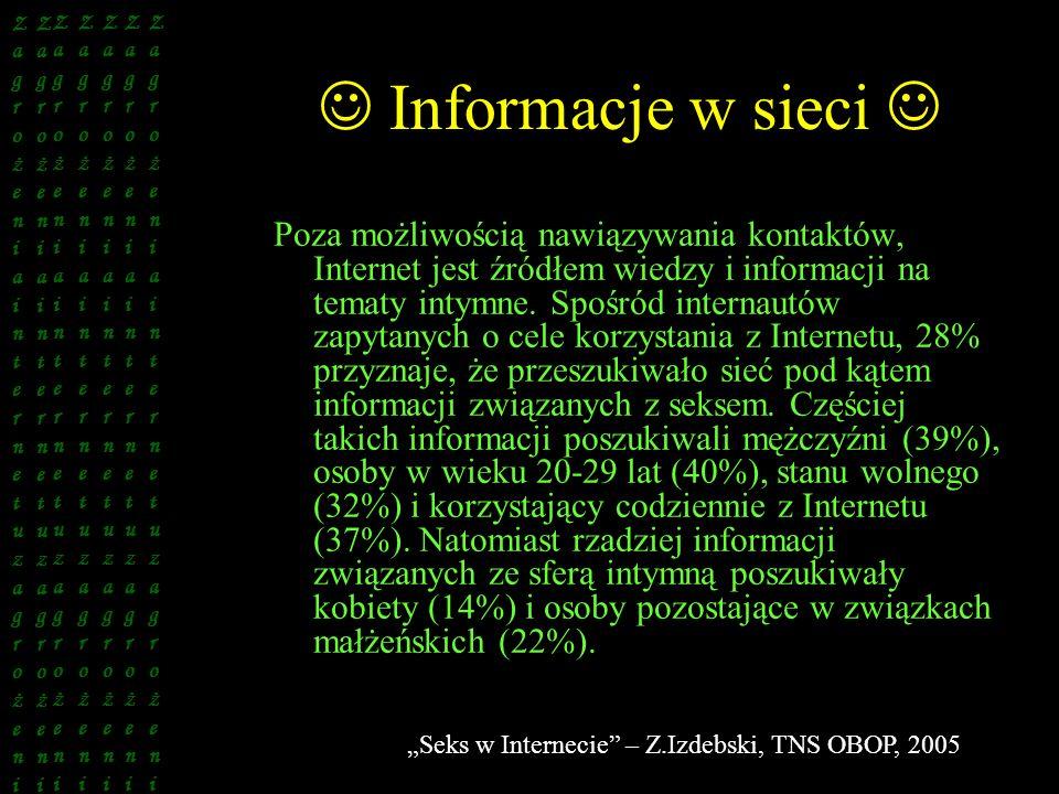 Informacje w sieci Poza możliwością nawiązywania kontaktów, Internet jest źródłem wiedzy i informacji na tematy intymne. Spośród internautów zapytanyc