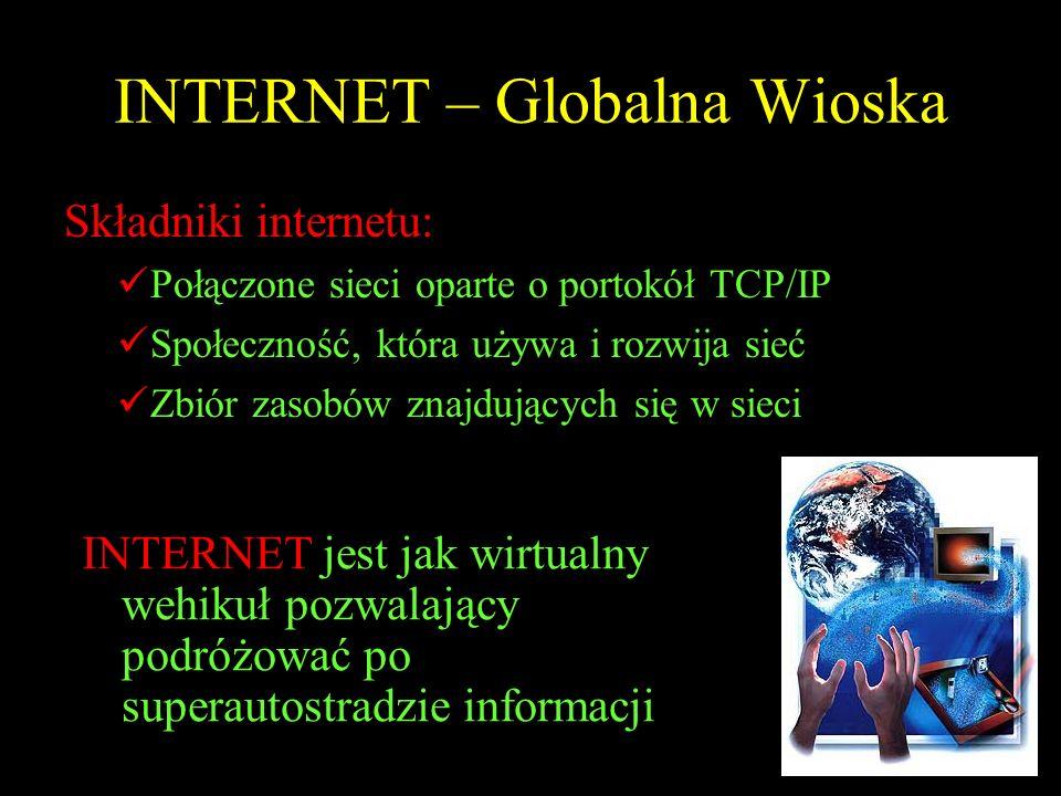 INTERNET – Globalna Wioska Składniki internetu: Połączone sieci oparte o portokół TCP/IP Społeczność, która używa i rozwija sieć Zbiór zasobów znajduj