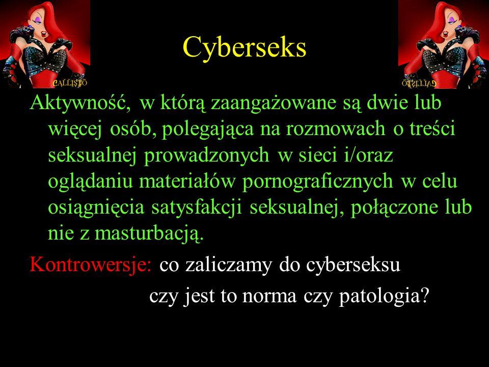 Cyberseks Aktywność, w którą zaangażowane są dwie lub więcej osób, polegająca na rozmowach o treści seksualnej prowadzonych w sieci i/oraz oglądaniu m