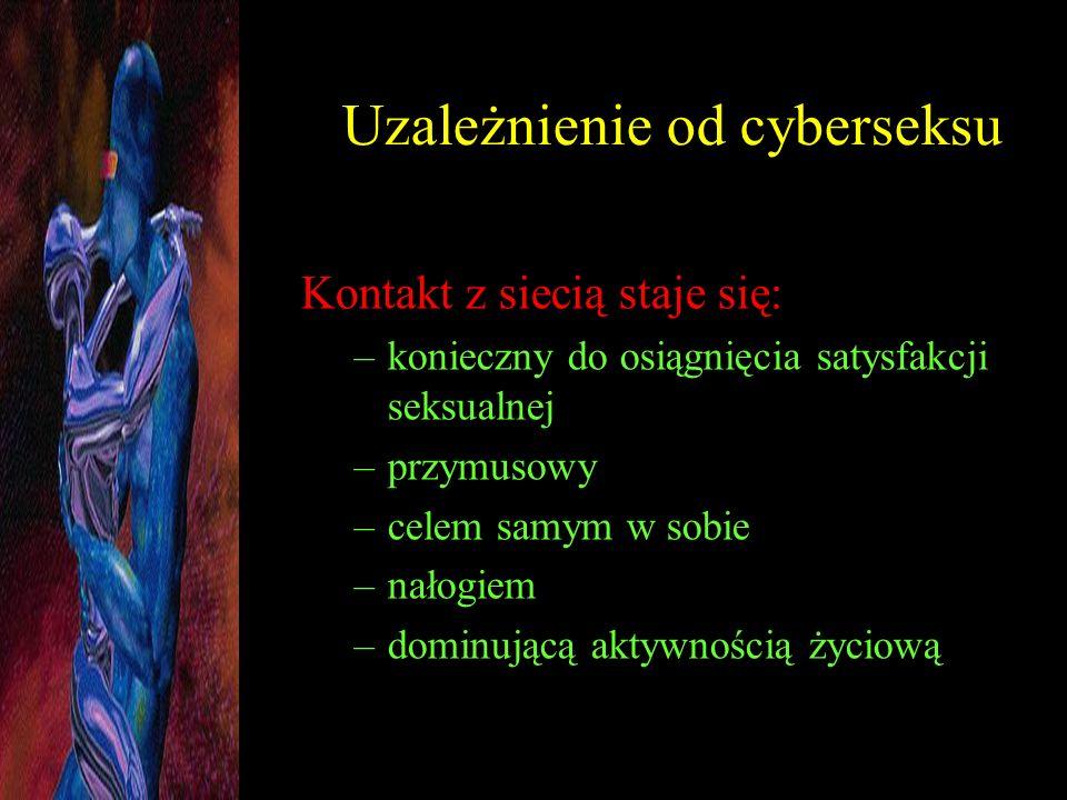 Uzależnienie od cyberseksu Kontakt z siecią staje się: –konieczny do osiągnięcia satysfakcji seksualnej –przymusowy –celem samym w sobie –nałogiem –do