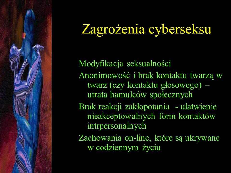 Zagrożenia cyberseksu Modyfikacja seksualności Anonimowość i brak kontaktu twarzą w twarz (czy kontaktu głosowego) – utrata hamulców społecznych Brak