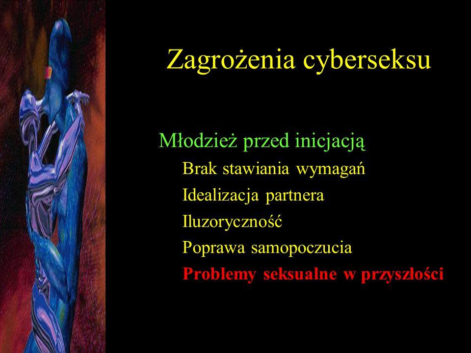 Zagrożenia cyberseksu Młodzież przed inicjacją Brak stawiania wymagań Idealizacja partnera Iluzoryczność Poprawa samopoczucia Problemy seksualne w prz