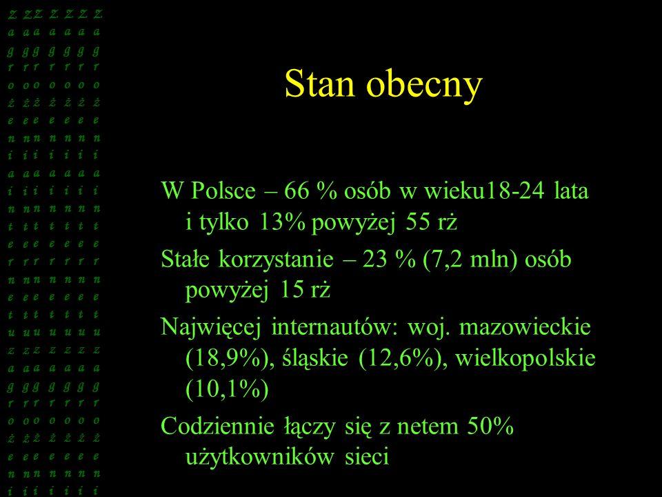 Stan obecny W Polsce – 66 % osób w wieku18-24 lata i tylko 13% powyżej 55 rż Stałe korzystanie – 23 % (7,2 mln) osób powyżej 15 rż Najwięcej internaut