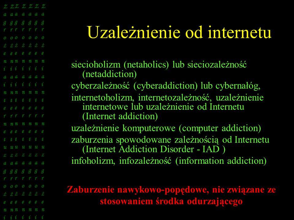 Uzależnienie od internetu siecioholizm (netaholics) lub sieciozależność (netaddiction) cyberzależność (cyberaddiction) lub cybernałóg, internetoholizm