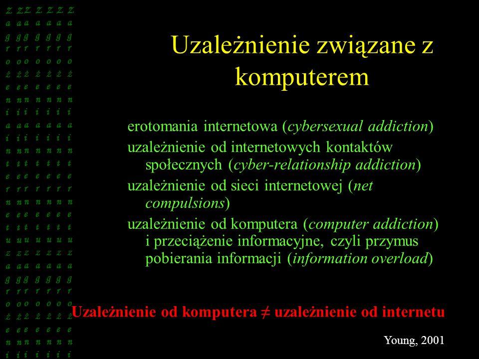Uzależnienie związane z komputerem erotomania internetowa (cybersexual addiction) uzależnienie od internetowych kontaktów społecznych (cyber-relations