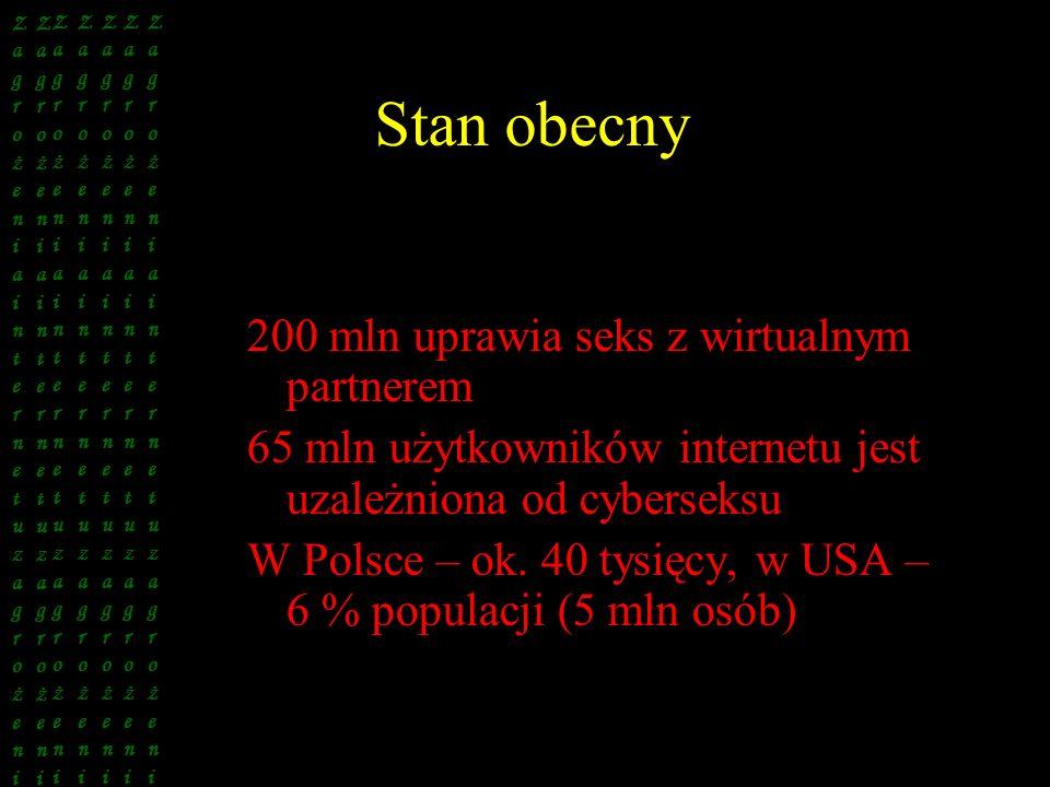 Stan obecny 200 mln uprawia seks z wirtualnym partnerem 65 mln użytkowników internetu jest uzależniona od cyberseksu W Polsce – ok. 40 tysięcy, w USA