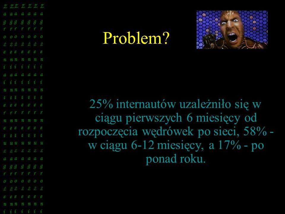 Problem? 25% internautów uzależniło się w ciągu pierwszych 6 miesięcy od rozpoczęcia wędrówek po sieci, 58% - w ciągu 6-12 miesięcy, a 17% - po ponad