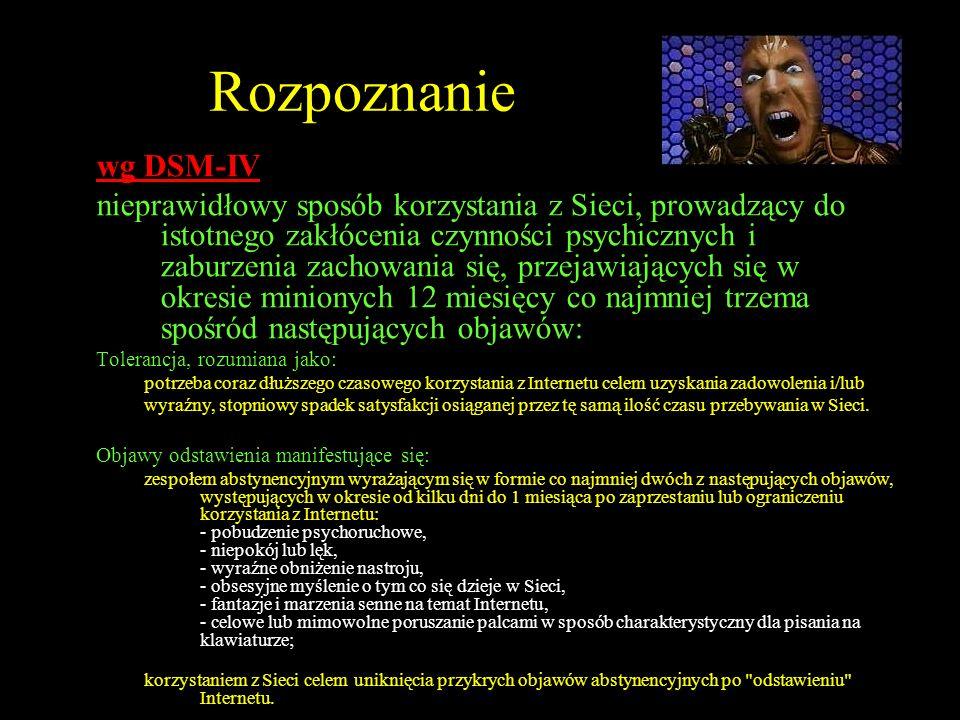 Rozpoznanie wg DSM-IV nieprawidłowy sposób korzystania z Sieci, prowadzący do istotnego zakłócenia czynności psychicznych i zaburzenia zachowania się,