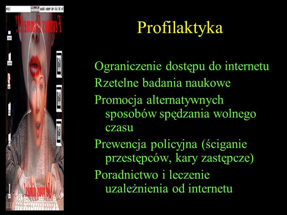 Profilaktyka Ograniczenie dostępu do internetu Rzetelne badania naukowe Promocja alternatywnych sposobów spędzania wolnego czasu Prewencja policyjna (