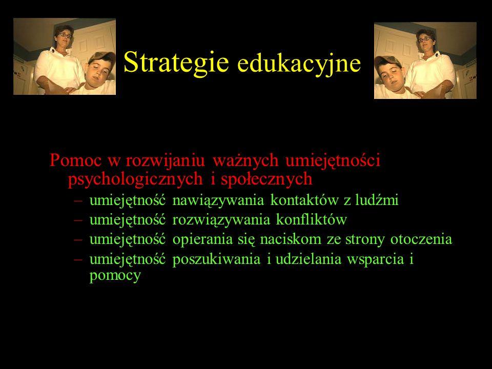 Strategie edukacyjne Pomoc w rozwijaniu ważnych umiejętności psychologicznych i społecznych –umiejętność nawiązywania kontaktów z ludźmi –umiejętność
