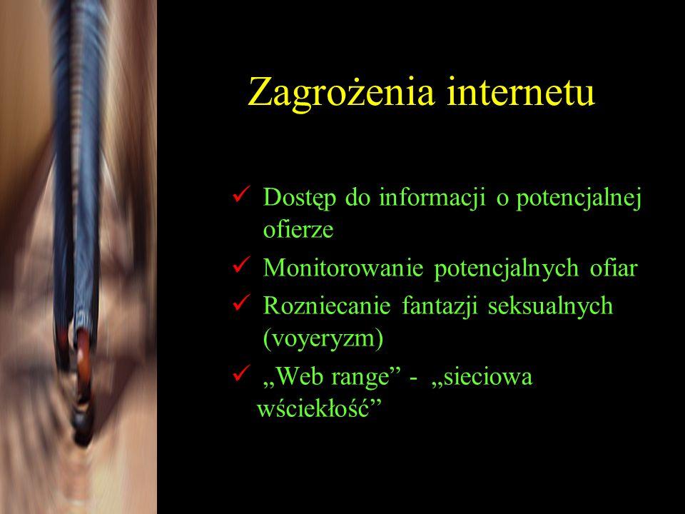 Dostęp do informacji o potencjalnej ofierze Monitorowanie potencjalnych ofiar Rozniecanie fantazji seksualnych (voyeryzm) Web range - sieciowa wściekł
