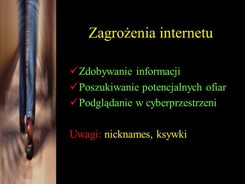 Zdobywanie informacji Poszukiwanie potencjalnych ofiar Podglądanie w cyberprzestrzeni Uwagi: nicknames, ksywki Zagrożenia internetu