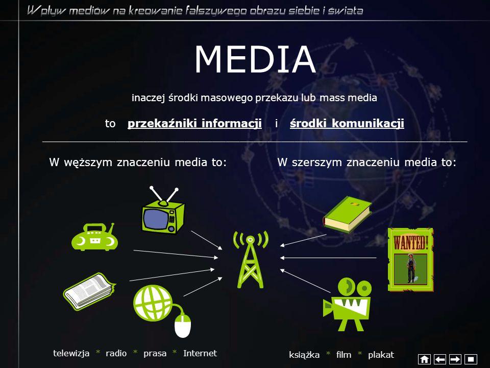 MEDIA inaczej środki masowego przekazu lub mass media to przekaźniki informacji i środki komunikacji _________________________________________________