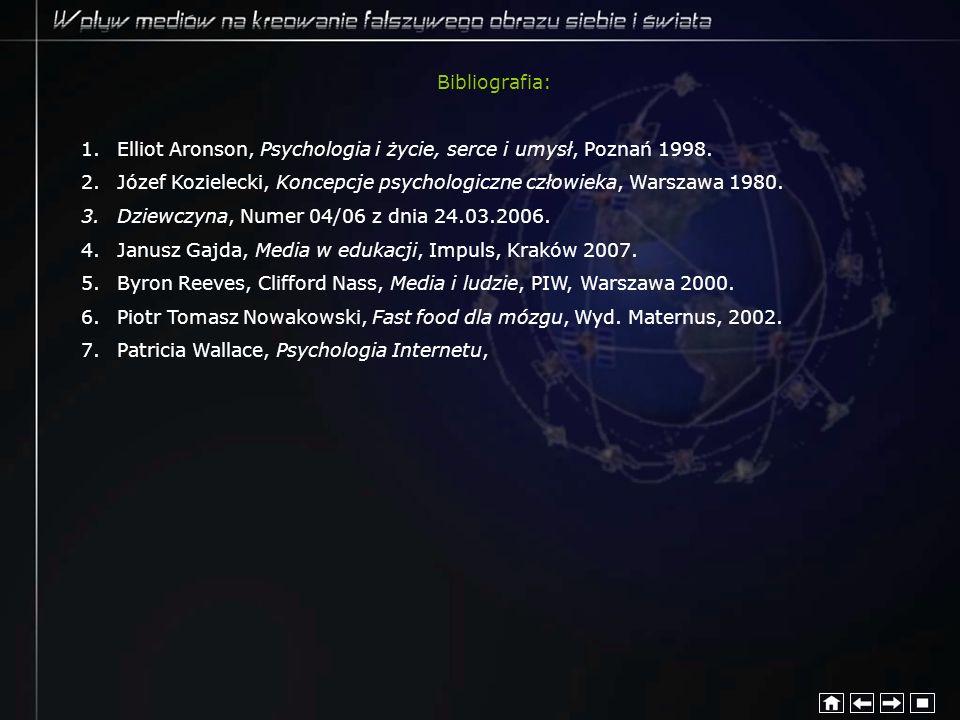 Bibliografia: 1.Elliot Aronson, Psychologia i życie, serce i umysł, Poznań 1998. 2.Józef Kozielecki, Koncepcje psychologiczne człowieka, Warszawa 1980