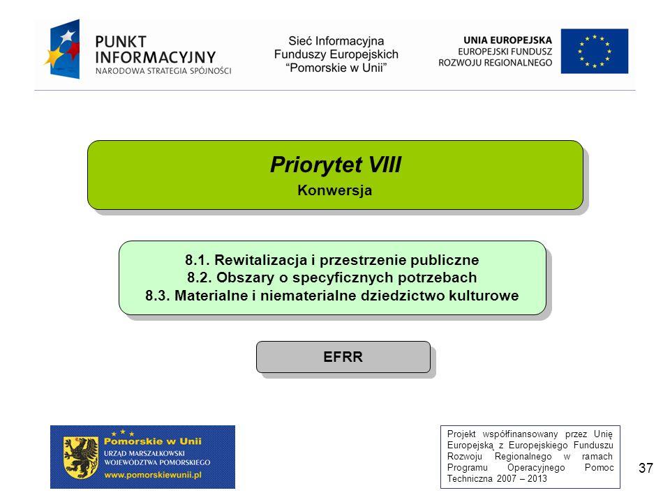 Projekt współfinansowany przez Unię Europejską z Europejskiego Funduszu Rozwoju Regionalnego w ramach Programu Operacyjnego Pomoc Techniczna 2007 – 2013 37 Priorytet VIII Konwersja Priorytet VIII Konwersja 8.1.