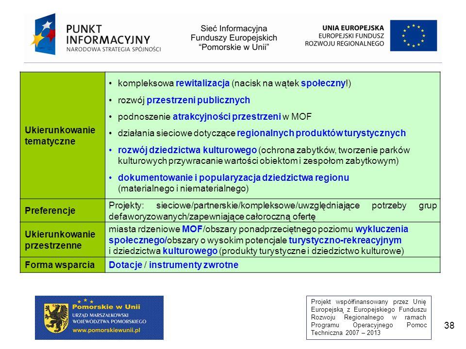 Projekt współfinansowany przez Unię Europejską z Europejskiego Funduszu Rozwoju Regionalnego w ramach Programu Operacyjnego Pomoc Techniczna 2007 – 2013 38 Ukierunkowanie tematyczne kompleksowa rewitalizacja (nacisk na wątek społeczny!) rozwój przestrzeni publicznych podnoszenie atrakcyjności przestrzeni w MOF działania sieciowe dotyczące regionalnych produktów turystycznych rozwój dziedzictwa kulturowego (ochrona zabytków, tworzenie parków kulturowych przywracanie wartości obiektom i zespołom zabytkowym) dokumentowanie i popularyzacja dziedzictwa regionu (materialnego i niematerialnego) Preferencje Projekty: sieciowe/partnerskie/kompleksowe/uwzględniające potrzeby grup defaworyzowanych/zapewniające całoroczną ofertę Ukierunkowanie przestrzenne miasta rdzeniowe MOF/obszary ponadprzeciętnego poziomu wykluczenia społecznego/obszary o wysokim potencjale turystyczno-rekreacyjnym i dziedzictwa kulturowego (produkty turystyczne i dziedzictwo kulturowe) Forma wsparciaDotacje / instrumenty zwrotne