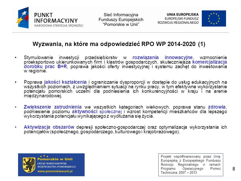 Projekt współfinansowany przez Unię Europejską z Europejskiego Funduszu Rozwoju Regionalnego w ramach Programu Operacyjnego Pomoc Techniczna 2007 – 2013 29 Ukierunkowanie tematyczne zdobywanie nowych umiejętności oraz podnoszenie/zmiana kwalifikacji, podnoszenie mobilności przestrzennej, zapewnienie różnych form opieki nad osobami zależnymi, dodatkowe kwalifikacje zawodowe dla osób powracających na rynek pracy, wprowadzenie elastycznych form zatrudnienia, realizacja programów zdrowotnych, zindywidualizowana oferty wsparcia pracodawców, wdrażanie programów typu outplacement, wsparcie powstawania mikroprzedsiębiorstw, Preferencje Projekty: partnerskie/obejmujące grupy defaworyzowane/realizowane w porozumieniu z pracodawcami/innowacyjne Ukierunkowanie przestrzenne Obszary o niskim poziomie aktywności gospodarczej/obszary o wysokim stopniu bezrobocia/działania horyzontalne (całe województwo) Forma wsparciaDotacje