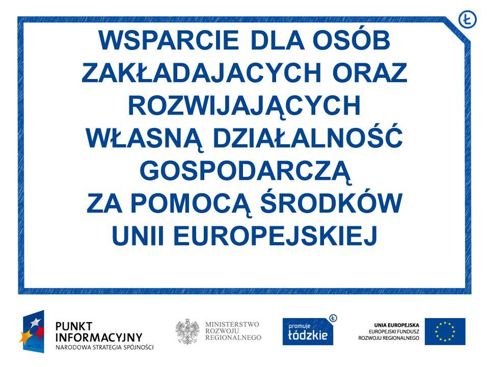 WSPARCIE DLA OSÓB ZAKŁADAJACYCH ORAZ ROZWIJAJĄCYCH WŁASNĄ DZIAŁALNOŚĆ GOSPODARCZĄ ZA POMOCĄ ŚRODKÓW UNII EUROPEJSKIEJ