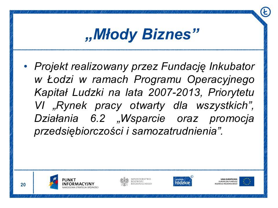 20 Projekt realizowany przez Fundację Inkubator w Łodzi w ramach Programu Operacyjnego Kapitał Ludzki na lata 2007-2013, Priorytetu VI Rynek pracy otw