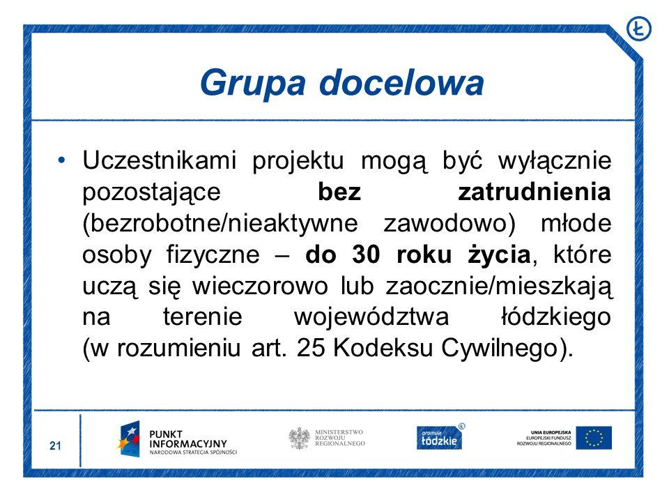 21 Uczestnikami projektu mogą być wyłącznie pozostające bez zatrudnienia (bezrobotne/nieaktywne zawodowo) młode osoby fizyczne – do 30 roku życia, któ