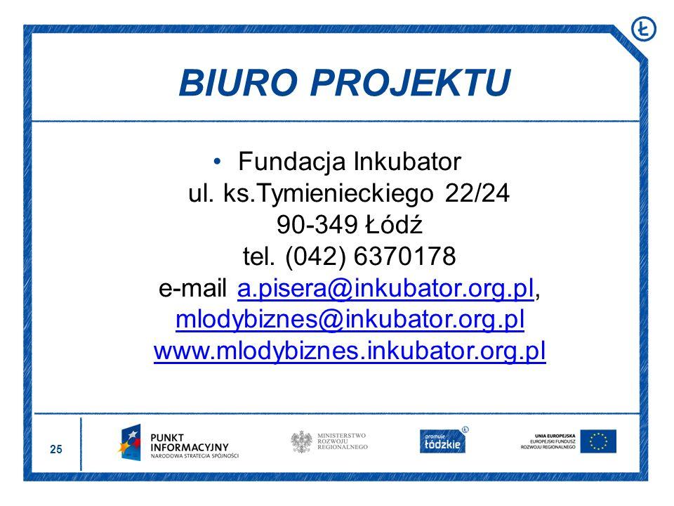 25 Fundacja Inkubator ul. ks.Tymienieckiego 22/24 90-349 Łódź tel. (042) 6370178 e-mail a.pisera@inkubator.org.pl, mlodybiznes@inkubator.org.pl www.ml