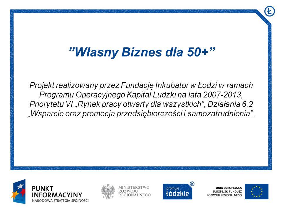 Projekt realizowany przez Fundację Inkubator w Łodzi w ramach Programu Operacyjnego Kapitał Ludzki na lata 2007-2013, Priorytetu VI Rynek pracy otwart