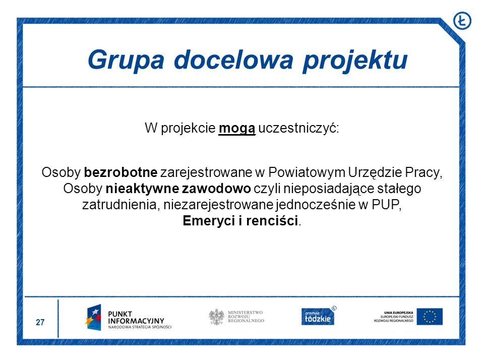 27 W projekcie mogą uczestniczyć: Osoby bezrobotne zarejestrowane w Powiatowym Urzędzie Pracy, Osoby nieaktywne zawodowo czyli nieposiadające stałego