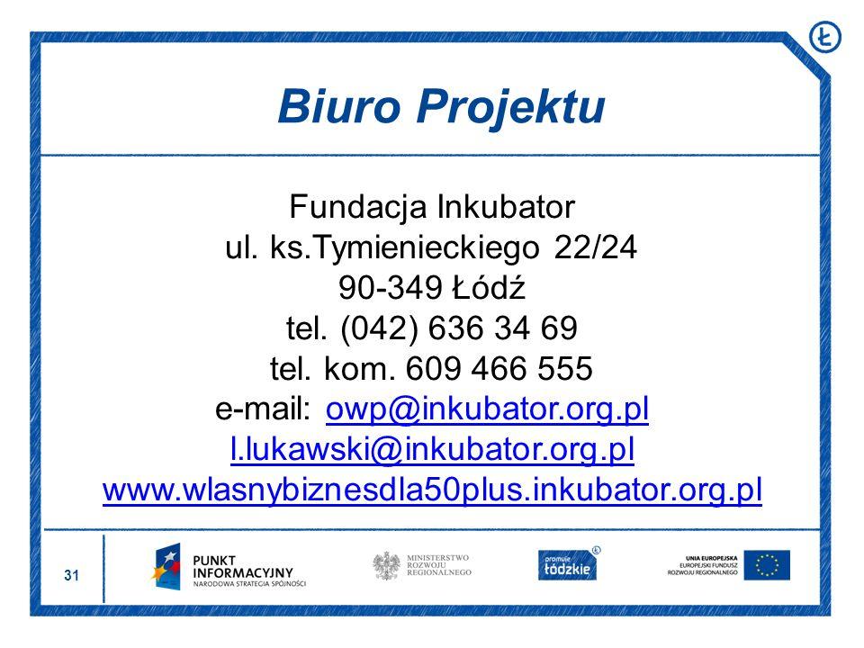 31 Fundacja Inkubator ul. ks.Tymienieckiego 22/24 90-349 Łódź tel. (042) 636 34 69 tel. kom. 609 466 555 e-mail: owp@inkubator.org.plowp@inkubator.org