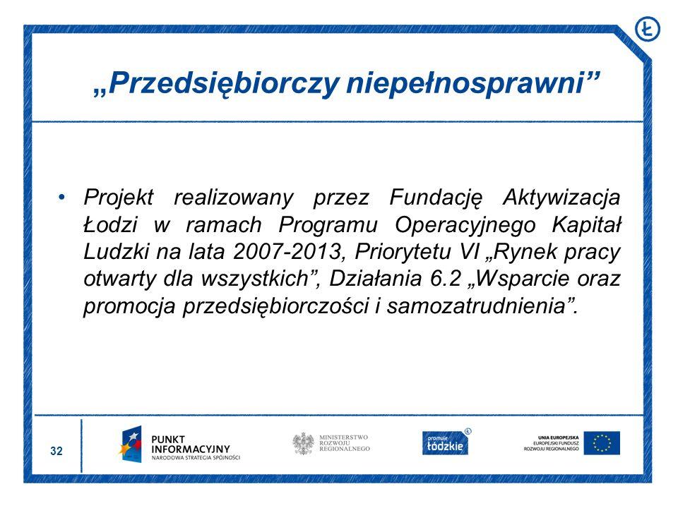 32 Projekt realizowany przez Fundację Aktywizacja Łodzi w ramach Programu Operacyjnego Kapitał Ludzki na lata 2007-2013, Priorytetu VI Rynek pracy otw
