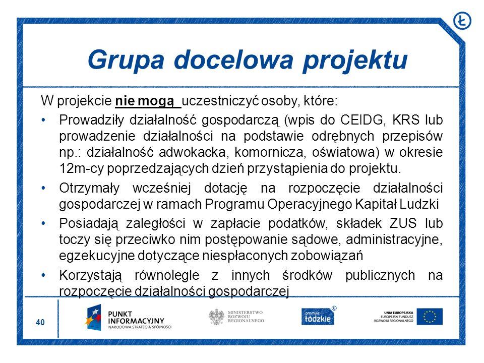 40 W projekcie nie mogą uczestniczyć osoby, które: Prowadziły działalność gospodarczą (wpis do CEIDG, KRS lub prowadzenie działalności na podstawie od