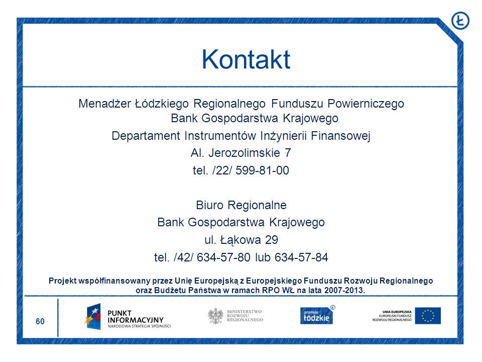 60 Menadżer Łódzkiego Regionalnego Funduszu Powierniczego Bank Gospodarstwa Krajowego Departament Instrumentów Inżynierii Finansowej Al. Jerozolimskie