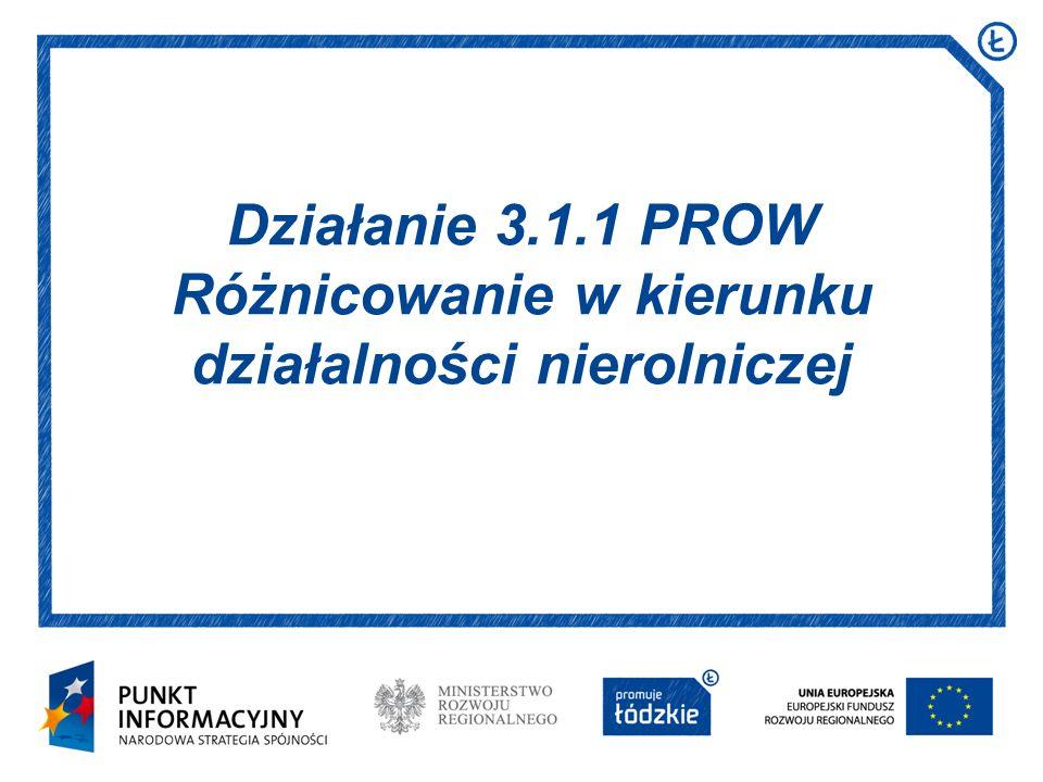 Data i miejsce prezentacji Arial 16 pkt Działanie 3.1.1 PROW Różnicowanie w kierunku działalności nierolniczej