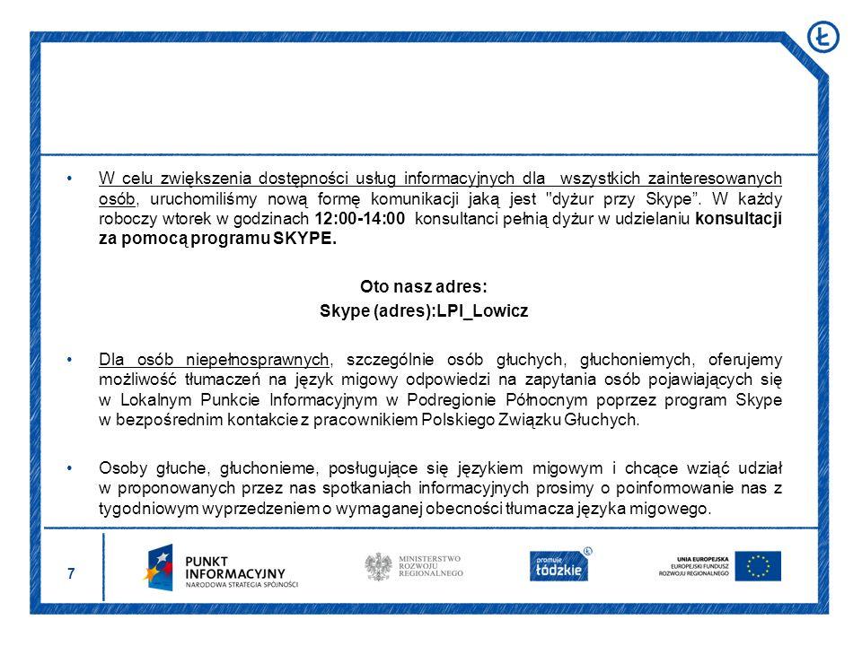 Lista instytucji udzielających wsparcia osób po 50 roku życia Miasto Łódź ul.