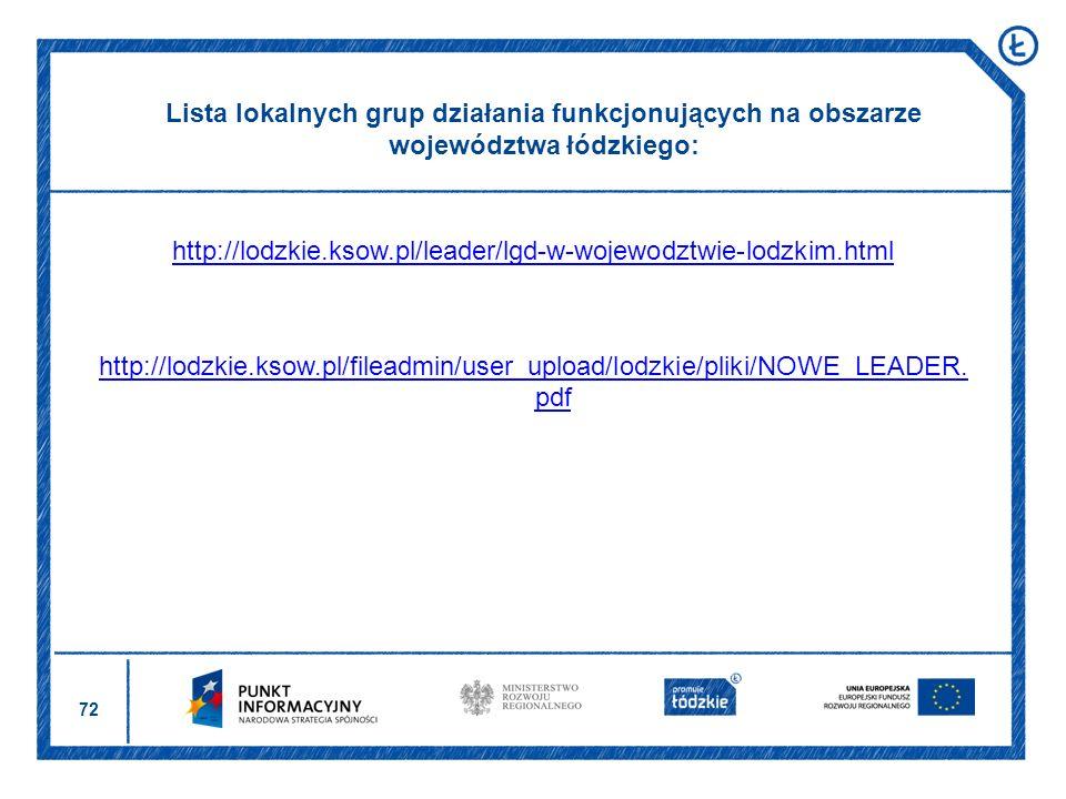 72 http://lodzkie.ksow.pl/leader/lgd-w-wojewodztwie-lodzkim.html http://lodzkie.ksow.pl/fileadmin/user_upload/lodzkie/pliki/NOWE_LEADER. pdf Lista lok