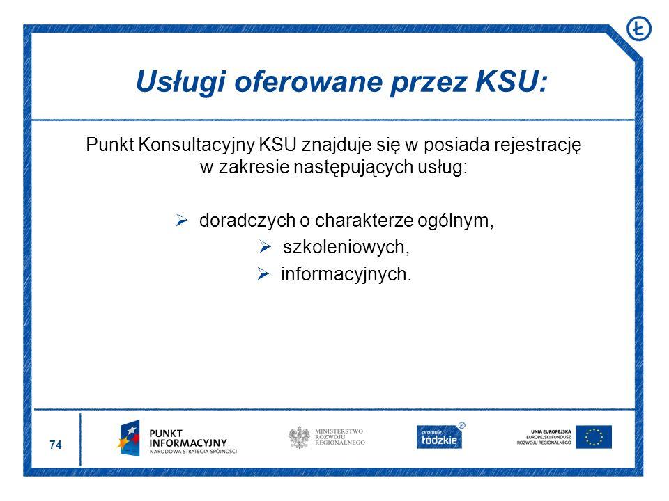 74 Punkt Konsultacyjny KSU znajduje się w posiada rejestrację w zakresie następujących usług: doradczych o charakterze ogólnym, szkoleniowych, informa
