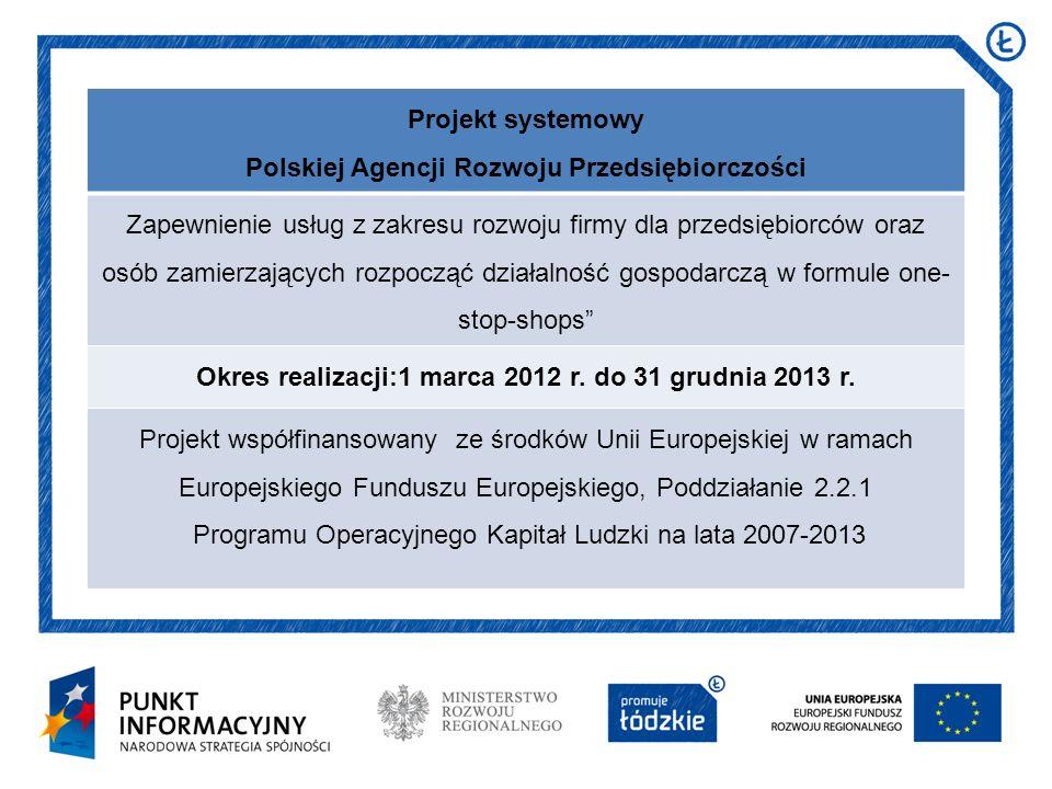 Projekt systemowy Polskiej Agencji Rozwoju Przedsiębiorczości Zapewnienie usług z zakresu rozwoju firmy dla przedsiębiorców oraz osób zamierzających r