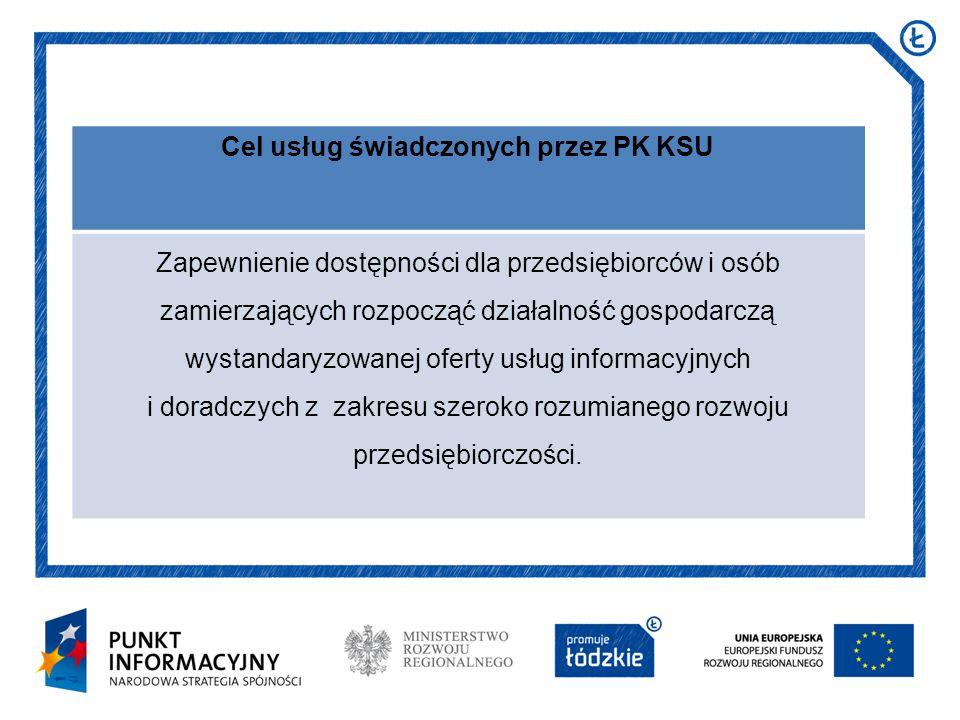 Cel usług świadczonych przez PK KSU Zapewnienie dostępności dla przedsiębiorców i osób zamierzających rozpocząć działalność gospodarczą wystandaryzowa