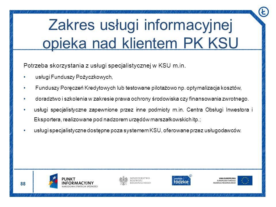 88 Potrzeba skorzystania z usługi specjalistycznej w KSU m.in. usługi Funduszy Pożyczkowych, Funduszy Poręczeń Kredytowych lub testowane pilotażowo np