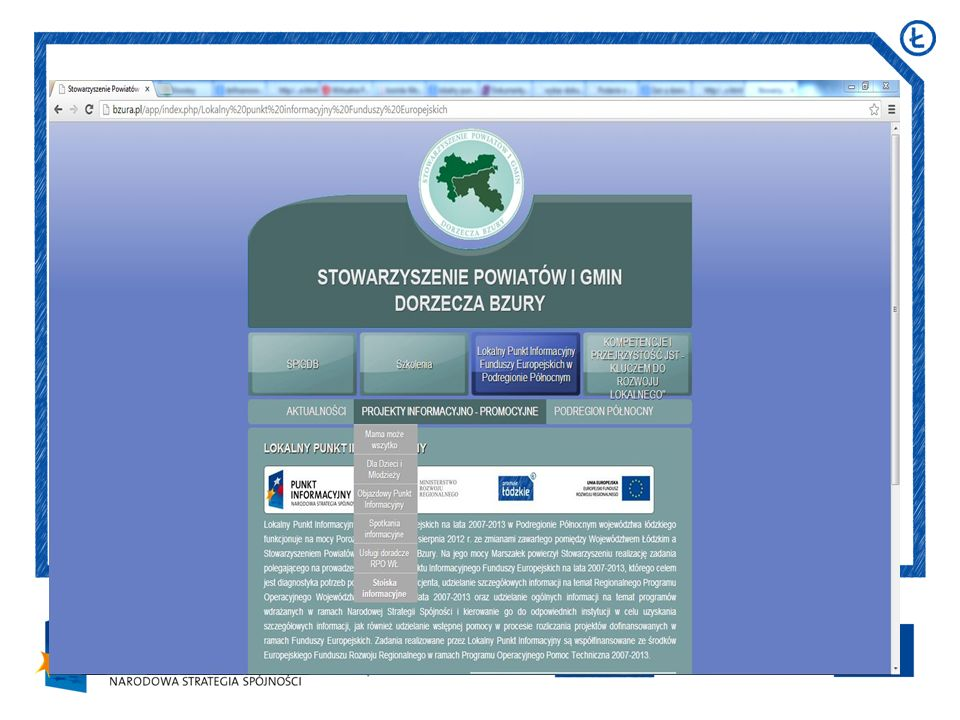 http://www.funduszeeuropejskie.g ov.pl/dzialaniapromocyjne/PI/Stro ny/lodzkie.aspx http://www.rpo.lodzkie.pl/wps/wcm /connect/rpo/rpo/strona_glowna/