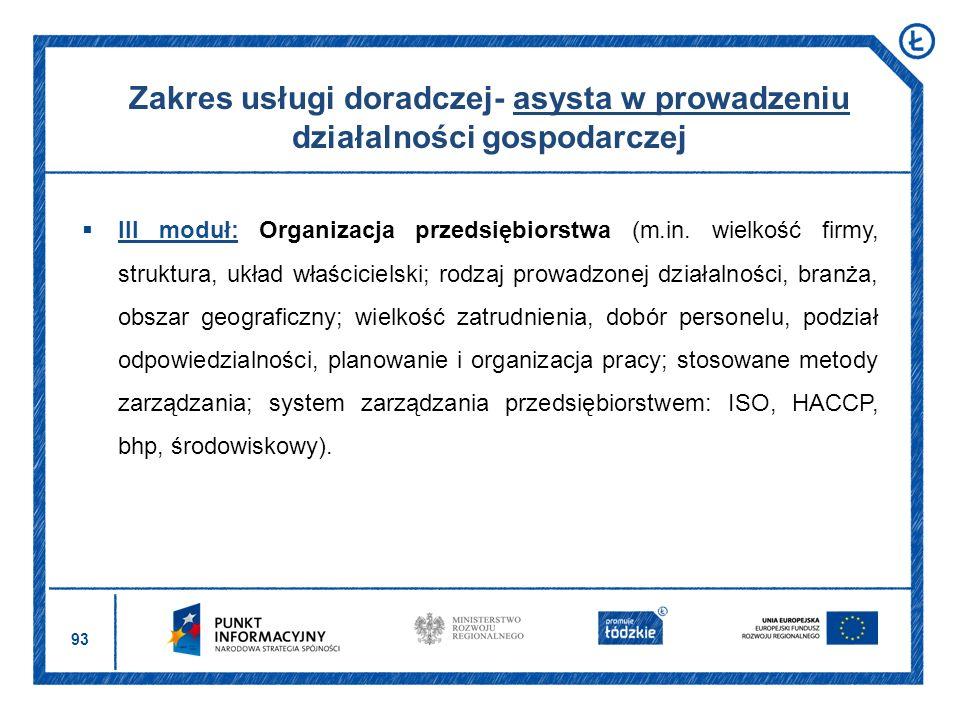 93 Zakres usługi doradczej- asysta w prowadzeniu działalności gospodarczej III moduł: Organizacja przedsiębiorstwa (m.in. wielkość firmy, struktura, u