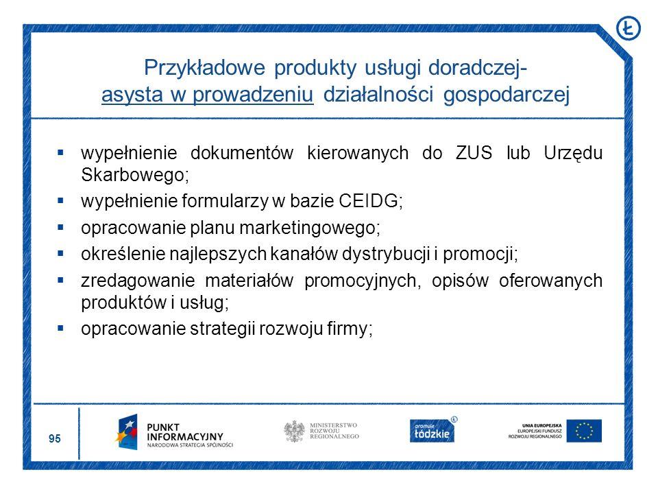 95 wypełnienie dokumentów kierowanych do ZUS lub Urzędu Skarbowego; wypełnienie formularzy w bazie CEIDG; opracowanie planu marketingowego; określenie